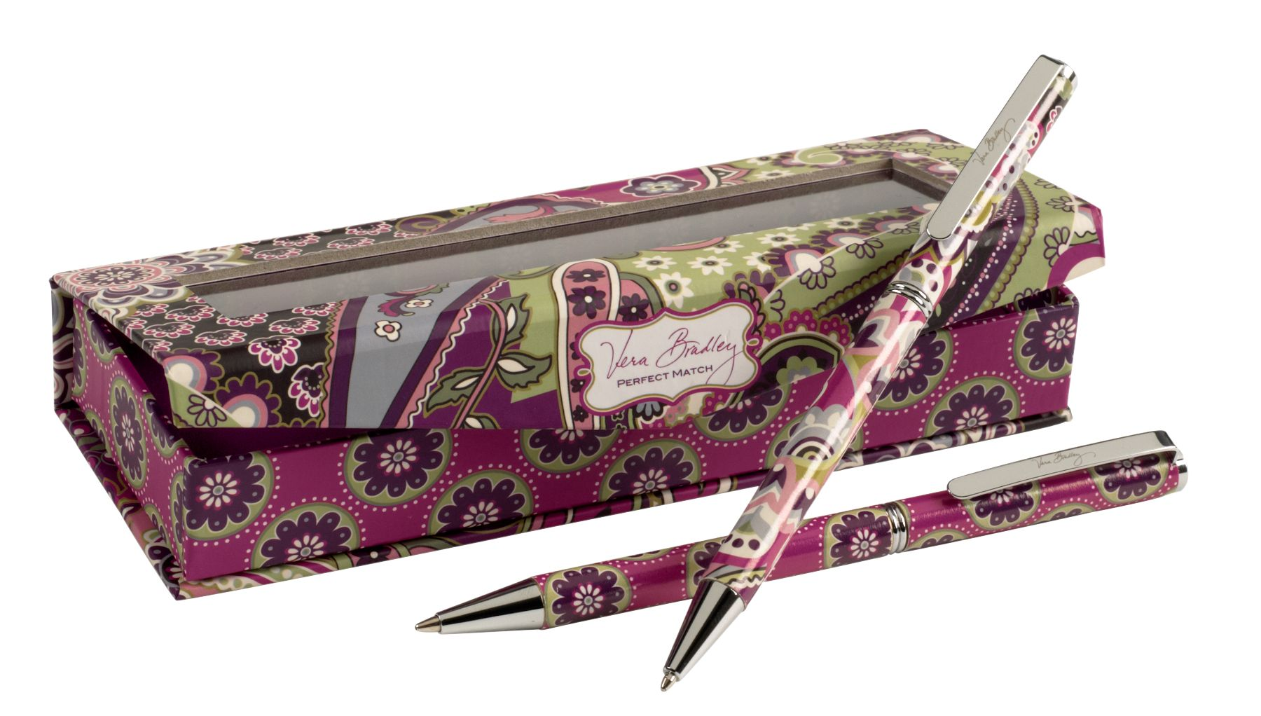 Vera Bradley Perfect Match Pen and Pencil Set in Very Berry Paisley