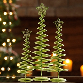Green Spiral Trees, Set of 3