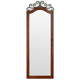 Woodtone Scroll Top Jewelry Armoire Mirror