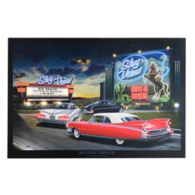 Skyview Drive In Pre-Lit Canvas Art Print