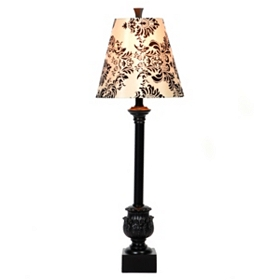 Black & White Damask Buffet Lamp