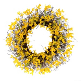 Yellow Forsythia Wreath, 24 in.