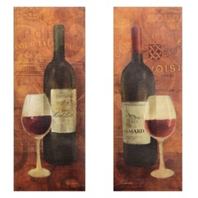 Vin Rouge Canvas Art Print, Set of 2