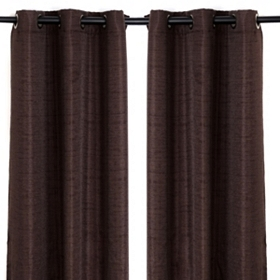 Chocolate Brown Curtain Panel, Set of 2