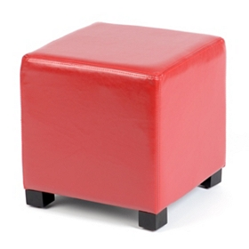 Red Faux Leather Ottoman