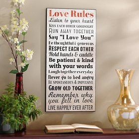Love Rules Wall Plaque