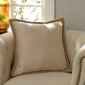 Taupe Jute Linen Pillow