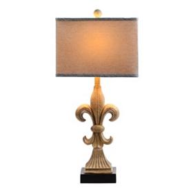 Faux Stone Fleur-de-Lis Table Lamp