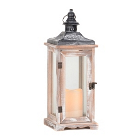 Whitewashed Wood Lantern with LED Candle, 19 in.