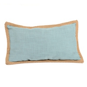 Blue Jute Linen Pillow, 24x14