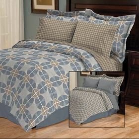 Zayden Blue 8-pc. Reversible Queen Bedding Set