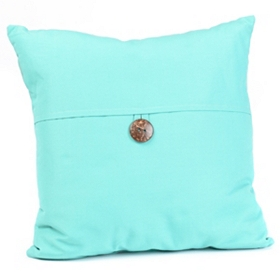 Aqua Coconut Button Outdoor Pillow