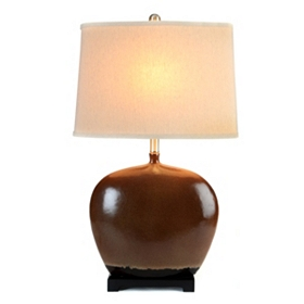 Almond & Black Table Lamp