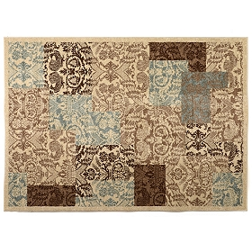 Chester Patchwork Blue & Brown Area Rug, 5x7