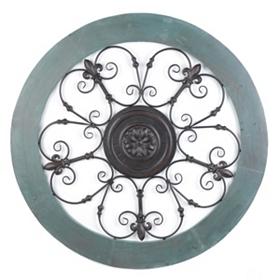 Turquoise Fleur-de-Lis Medallion Metal Wall Art