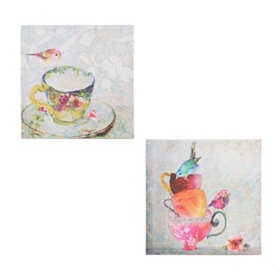 Birds on Teacups Canvas Art Prints