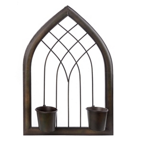 Arched Metal 2-Pot Wall Planter