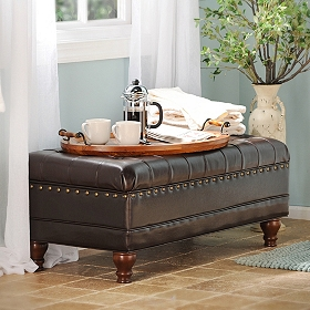 Espresso Faux Leather Tufted Storage Bench