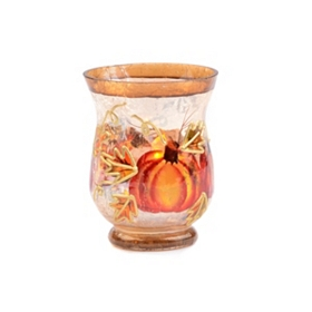 Hand-Painted Pumpkin Votive, 4 in.