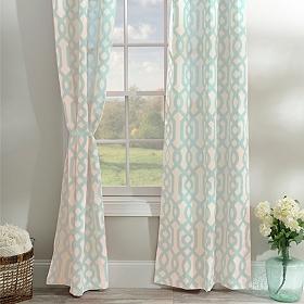 Aqua Gatehill Curtain Panel Set, 95 in.