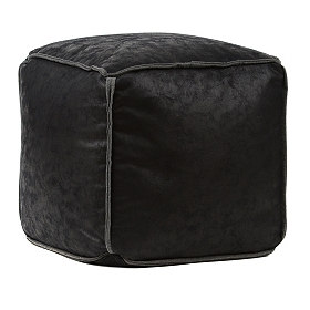 Antique Black Faux Leather Ottoman