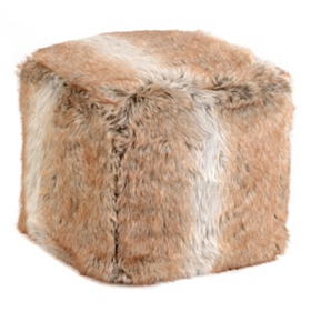 Light Brown Faux Fur Ottoman