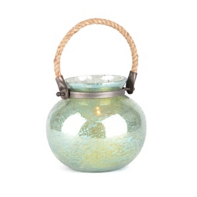 Green Foil Glass Lantern, 7 in.