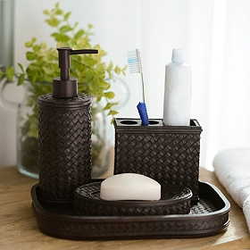 Dark Bronze Bamboo 4-Piece Bath Accessory Set