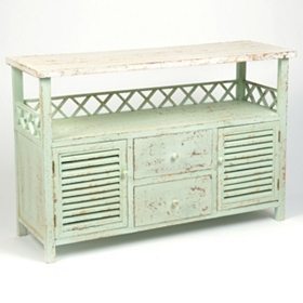 Bonnie Distressed Ivory Wood Cabinet