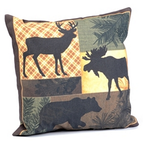 Forest Stroll Patchwork Outdoor Pillow