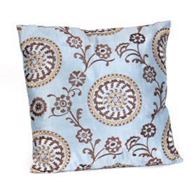 Suzani Powder Blue Floral Pillow