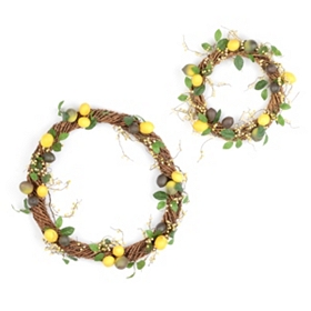 Lemon Woven Branch Wreath, Set of 2
