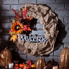 Welcome Burlap Wreath