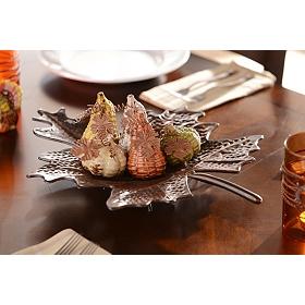 Leaf Plate with Ceramic Pumpkins