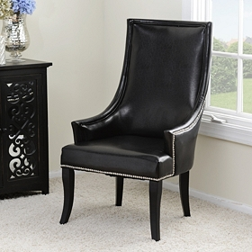 Black Faux Leather Chatham Chair
