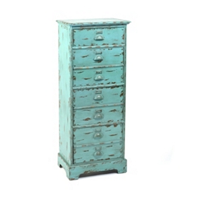 Distressed Blue Standing 4-Drawer Chest