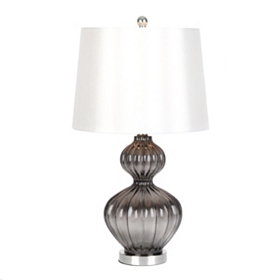 Gray Fluted Glass Table Lamp