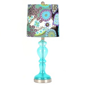 Teal Glass Floral Print Table Lamp