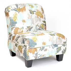 Blue Floral Print Slipper Chair