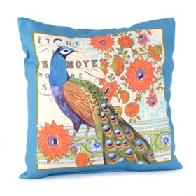 Peacock Vision Blue Pillow