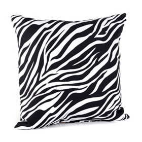 Zebra Print Black & White Pillow