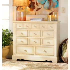Distressed Cream 5-Drawer Chest