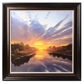 Sunset Lake Framed Art Print