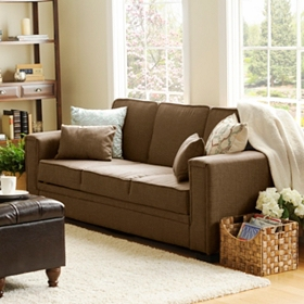 Francis Serta Brown Convertible Sofa