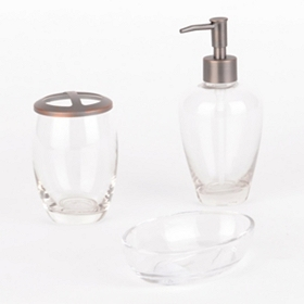 Clear Glass 3-pc. Bath Accessory Set
