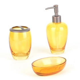 Amber Glass 3-pc. Bath Accessory Set
