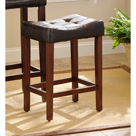Brown Leather Saddle Bar Stool, 24 in.