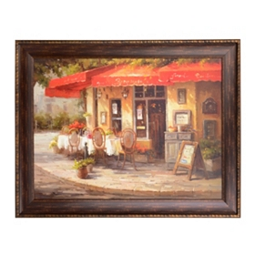 Red Corner Café Framed Art Print