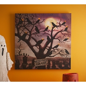 Spooky Crows LED Canvas Art Print