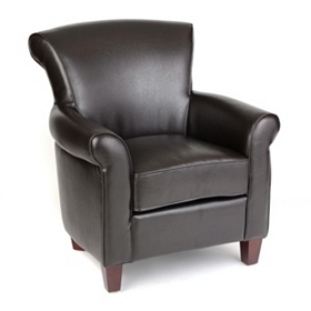 Espresso Faux Leather Club Chair